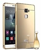 Eiroo Mirror Huawei Ascend Mate S Metal Kenarlı Aynalı Gold Rubber Kılıf