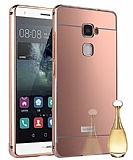 Eiroo Mirror Huawei Ascend Mate S Metal Kenarlı Aynalı Rose Gold Rubber Kılıf