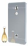 Eiroo Mirror Huawei Mate 8 Metal Kenarlı Aynalı Silver Rubber Kılıf