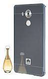 Eiroo Mirror Huawei Mate 8 Metal Kenarlı Aynalı Siyah Rubber Kılıf