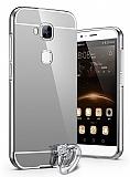 Eiroo Mirror Huawei G8 Metal Kenarl� Aynal� Silver Rubber K�l�f
