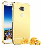 Eiroo Mirror Huawei G8 Metal Kenarlı Aynalı Gold Rubber Kılıf