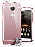 Eiroo Mirror Huawei G8 Metal Kenarl� Aynal� Rose Gold Rubber K�l�f
