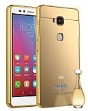Eiroo Mirror Huawei GR5 Metal Kenarlı Aynalı Gold Rubber Kılıf