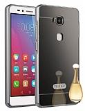Eiroo Mirror Huawei GR5 Metal Kenarlı Aynalı Siyah Rubber Kılıf