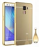 Eiroo Mirror Huawei GT3 Metal Kenarlı Aynalı Gold Rubber Kılıf