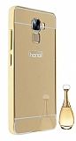 Eiroo Mirror Huawei Honor 7 Metal Kenarlı Aynalı Gold Rubber Kılıf