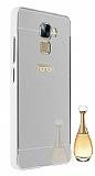 Eiroo Mirror Huawei Honor 7 Metal Kenarlı Aynalı Silver Rubber Kılıf
