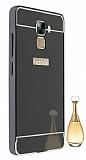 Eiroo Mirror Huawei Honor 7 Metal Kenarlı Aynalı Siyah Rubber Kılıf