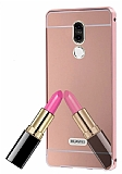 Eiroo Mirror Huawei Mate 10 Lite Metal Kenarlı Aynalı Rose Gold Rubber Kılıf