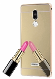 Eiroo Mirror Huawei Mate 10 Lite Metal Kenarlı Aynalı Gold Rubber Kılıf