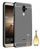 Eiroo Mirror Huawei Mate 9 Metal Kenarlı Aynalı Siyah Rubber Kılıf