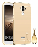 Eiroo Mirror Huawei Mate 9 Metal Kenarlı Aynalı Gold Rubber Kılıf