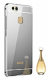 Eiroo Mirror Huawei P10 Lite Metal Kenarlı Aynalı Silver Rubber Kılıf