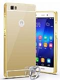 Eiroo Mirror Huawei P8 Lite Metal Kenarlı Aynalı Gold Rubber Kılıf