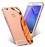 Eiroo Mirror Huawei P9 Lite 2017 Metal Kenarlı Aynalı Rose Gold Rubber Kılıf
