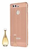Eiroo Mirror Huawei P9 Metal Kenarl� Aynal� Rose Gold Rubber K�l�f