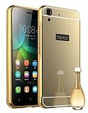 Eiroo Mirror Huawei Y6 ii Metal Kenarlı Aynalı Gold Rubber Kılıf