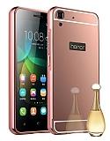 Eiroo Mirror Huawei Y6 ii Metal Kenarlı Aynalı Rose Gold Rubber Kılıf