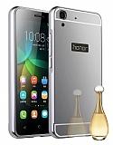 Eiroo Mirror Huawei Y6 ii Metal Kenarlı Aynalı Silver Rubber Kılıf