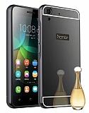 Eiroo Mirror Huawei Y6 ii Metal Kenarlı Aynalı Siyah Rubber Kılıf