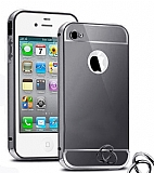 Eiroo Mirror iPhone 4 / 4S Metal Kenarl� Aynal� Siyah Rubber K�l�f