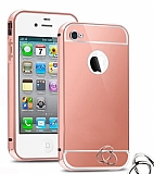 Eiroo Mirror iPhone 4 / 4S Metal Kenarl� Aynal� Rose Gold Rubber K�l�f