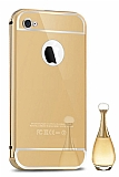 Eiroo Mirror iPhone 4 / 4S Metal Kenarl� Aynal� Gold Rubber K�l�f