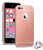 Eiroo Mirror iPhone SE / 5 / 5S Metal Kenarl� Aynal� Rose Gold Rubber K�l�f