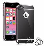 Eiroo Mirror iPhone SE / 5 / 5S Metal Kenarl� Aynal� Siyah Rubber K�l�f