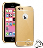 Eiroo Mirror iPhone SE / 5 / 5S Metal Kenarl� Aynal� Gold Rubber K�l�f