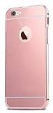 Eiroo Mirror iPhone 6 Plus / 6S Plus Metal Kenarlı Aynalı Rose Gold Rubber Kılıf