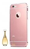 Eiroo Mirror iPhone 7 Metal Kenarl� Aynal� Rose Gold Rubber K�l�f
