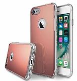 Eiroo Mirror iPhone 7 Silikon Kenarlı Aynalı Rose Gold Rubber Kılıf