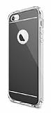 Eiroo Mirror iPhone SE / 5 / 5S Silikon Kenarlı Aynalı Siyah Rubber Kılıf