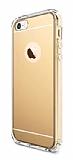 Eiroo Mirror iPhone SE / 5 / 5S Silikon Kenarl� Aynal� Gold Rubber K�l�f