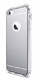 Eiroo Mirror iPhone SE / 5 / 5S Silikon Kenarl� Aynal� Silver Rubber K�l�f