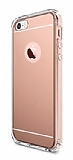 Eiroo Mirror iPhone SE / 5 / 5S Silikon Kenarl� Aynal� Rose Gold Rubber K�l�f