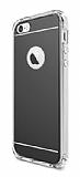 Eiroo Mirror iPhone SE / 5 / 5S Silikon Kenarl� Aynal� Siyah Rubber K�l�f