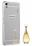 Eiroo Mirror Lenovo A7000 Metal Kenarlı Aynalı Silver Rubber Kılıf