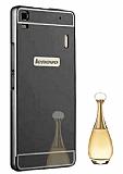 Eiroo Mirror Lenovo A7000 Metal Kenarlı Aynalı Siyah Rubber Kılıf