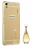 Eiroo Mirror Lenovo A7000 Metal Kenarlı Aynalı Gold Rubber Kılıf