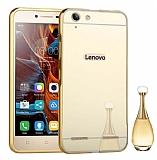 Eiroo Mirror Lenovo Vibe K5 Metal Kenarlı Aynalı Gold Rubber Kılıf