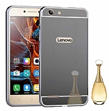 Eiroo Mirror Lenovo Vibe K5 Metal Kenarlı Aynalı Siyah Rubber Kılıf
