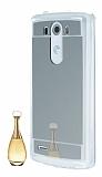 Eiroo Mirror LG G3 Silikon Kenarl� Aynal� Silver Rubber K�l�f