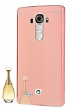 Eiroo Mirror LG G4 Metal Kenarlı Aynalı Rose Gold Rubber Kılıf