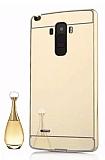 Eiroo Mirror LG G4 Stylus Metal Kenarlı Aynalı Gold Rubber Kılıf