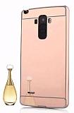 Eiroo Mirror LG G4 Stylus Metal Kenarlı Aynalı Rose Gold Rubber Kılıf