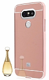 Eiroo Mirror LG G5 Metal Kenarlı Aynalı Rose Gold Rubber Kılıf