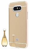 Eiroo Mirror LG G5 Metal Kenarlı Aynalı Gold Rubber Kılıf